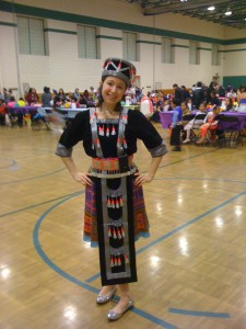 Elizabeth Camozzi at Noble Academy's Hmong New Year (in traditional dress)