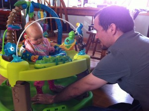 Daddy showed her how to play!