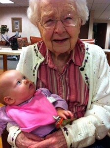Great-grandma was touched by the visit
