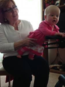 Ella Mae playing with great-grandmother Nanny's walker