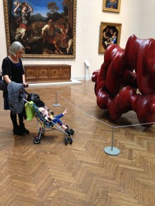 And of course grandmartha needs to bring her to an art museum!  Ella points out the details with her foot.