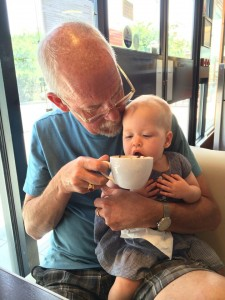 And of COURSE grandpa Don gave her a sip of good French cafe- see her signing for more?