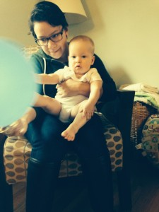 "Playing with Joanna and a balloon (which she calls ""baBA!"""