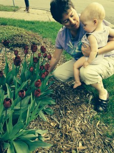 Neighbor Amy showing her the tulips