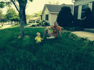 Playing with dad in the front yard!