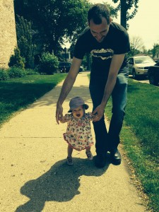 Walking with daddy!