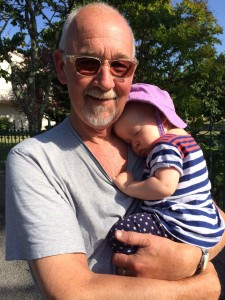 Grandpa Don walked her to sleep- a great way to nap!