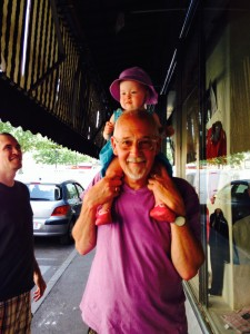 Walking Ales (local city) on Grandpa Don's shoulders