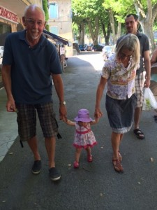 Walking with the grandparents!