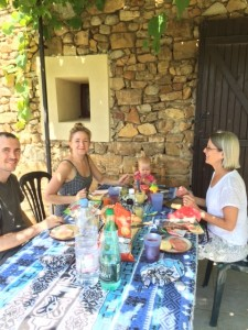 Typical meals in France.  SO hot while we were there (and NO mosquitoes!)